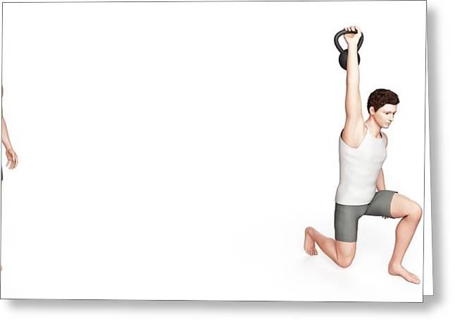 Person Using Kettlebell Greeting Card by Sebastian Kaulitzki