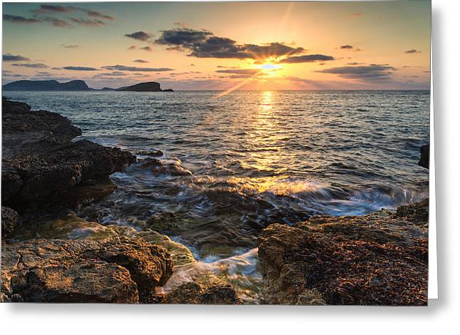 Beautiful Ibiza Coastal Sunrise Landscape Greeting Card