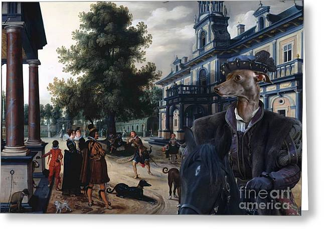Italian Greyhound Art Canvas Print Greeting Card