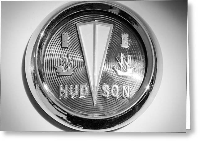 1956 Hudson Rambler Station Wagon Hood Ornament - Emblem Greeting Card by Jill Reger