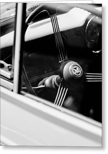 1960 Morris Minor Panel Delivery Truck Steering Wheel Emblem Greeting Card by Jill Reger