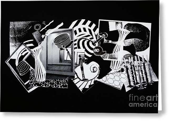 Greeting Card featuring the mixed media 2d Elements In Black And White by Xueling Zou