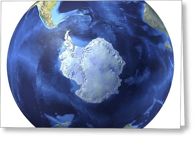 3d Rendering Of Planet Earth, Centered Greeting Card by Leonello Calvetti