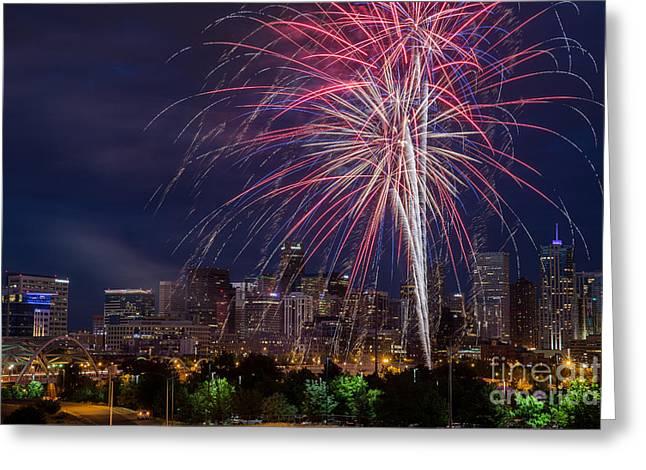 4th Of July Fireworks Over Denver Skyline Greeting Card by Bridget Calip