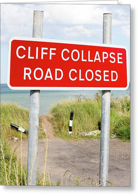 A Collapsed Coastal Road Near Aldbrough Greeting Card