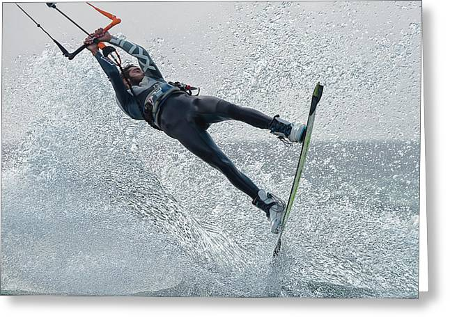 A Man Kitesurfing  Tarifa, Cadiz Greeting Card