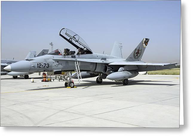 A Spanish Air Force Ef-18m Hornet Greeting Card by Daniele Faccioli