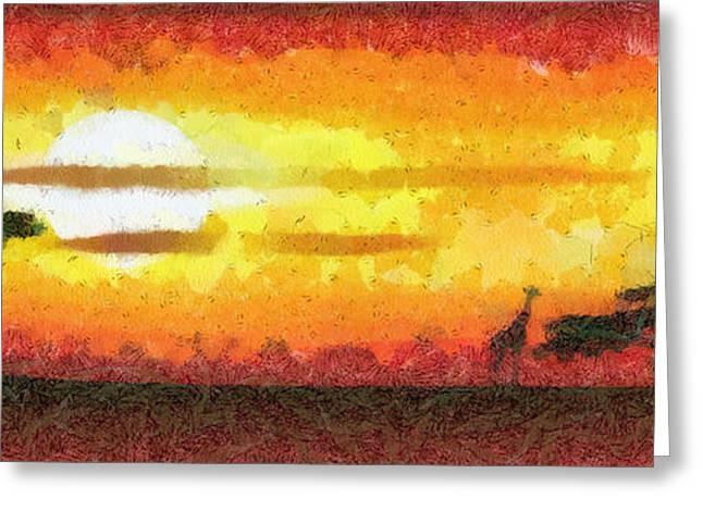 Africa Sunset Greeting Card