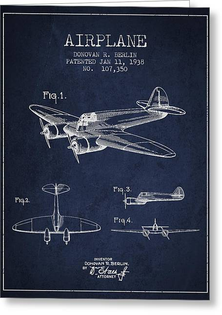 Airplane Patent Drawing From 1938 Greeting Card by Aged Pixel