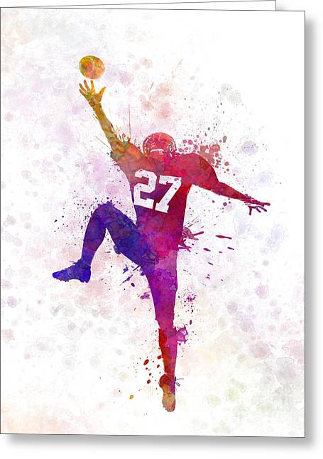 American Football Player Man Catching Receiving Greeting Card by Pablo Romero