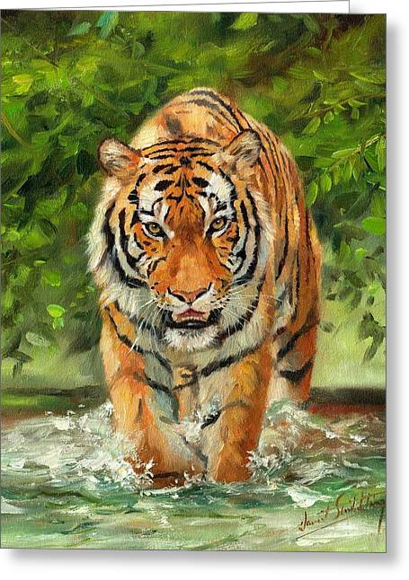 Amur Tiger Painting Greeting Card by David Stribbling