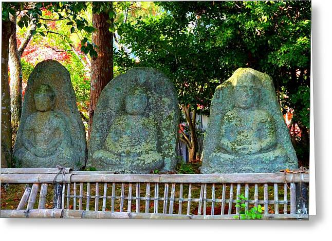 3 Ancient Buddhas Greeting Card by Julia Ivanovna Willhite