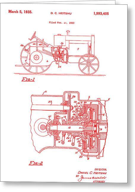 Antique Massey-ferguson Tractor Patent 1935 Greeting Card