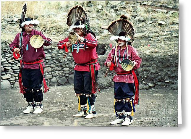 Greeting Card featuring the photograph Apache Crown Dancers by Juls Adams