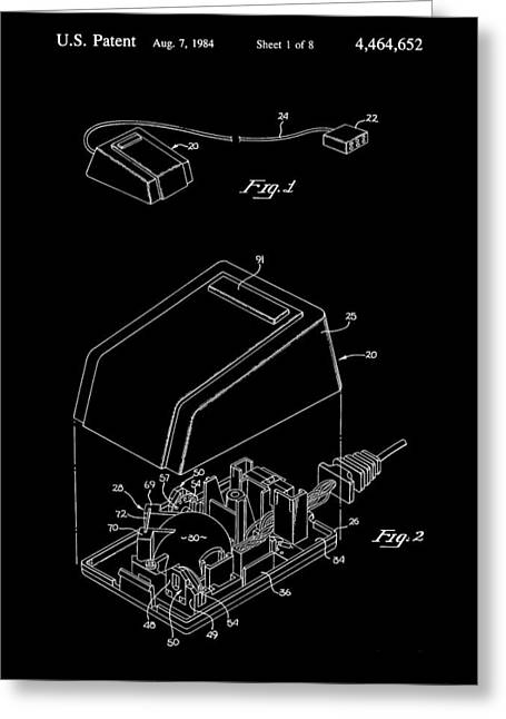 Apple Mouse Patent 1984 - Black Greeting Card