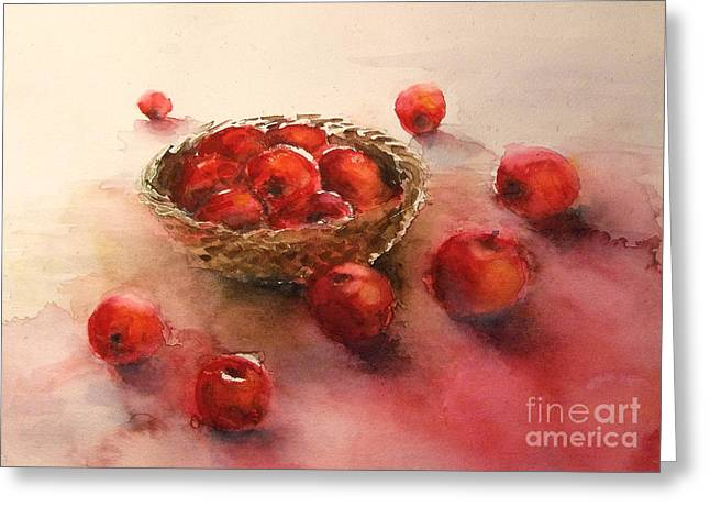 Apples  Apples Greeting Card by Yoshiko Mishina