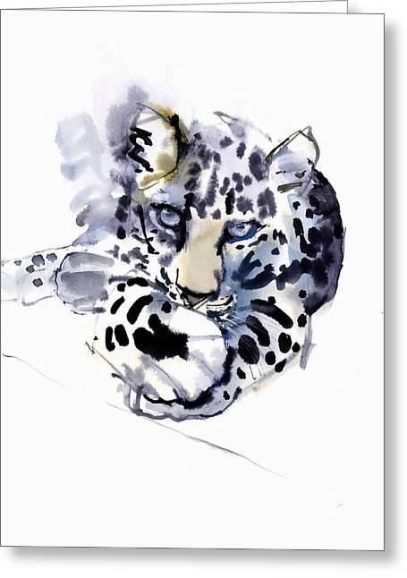 Arabian Leopard Greeting Card by Mark Adlington