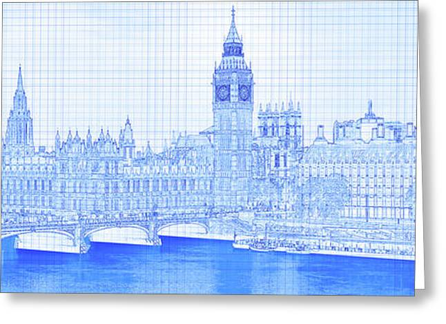 Arch Bridge Across A River, Westminster Greeting Card