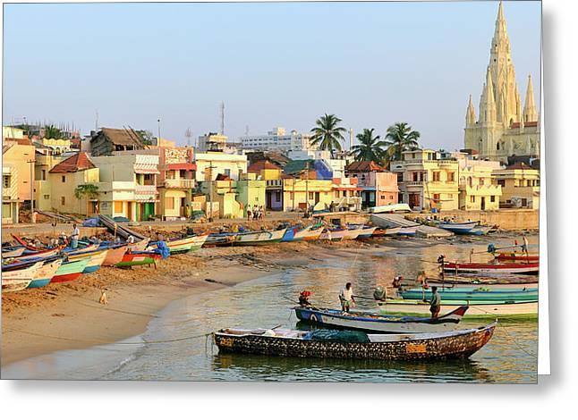 Asia, India, Tamil Nadu, Kanniyakumari Greeting Card by Steve Roxbury