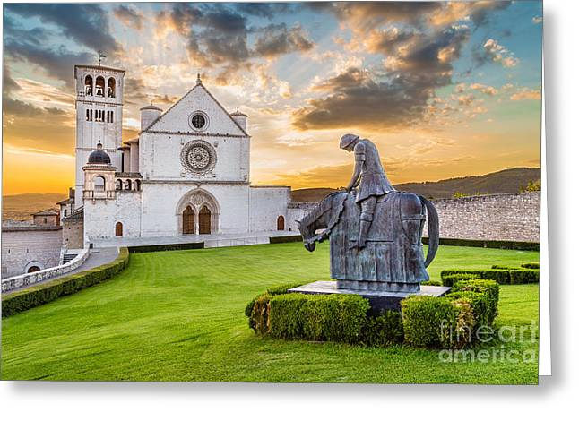 Assisi Sunset Greeting Card by JR Photography
