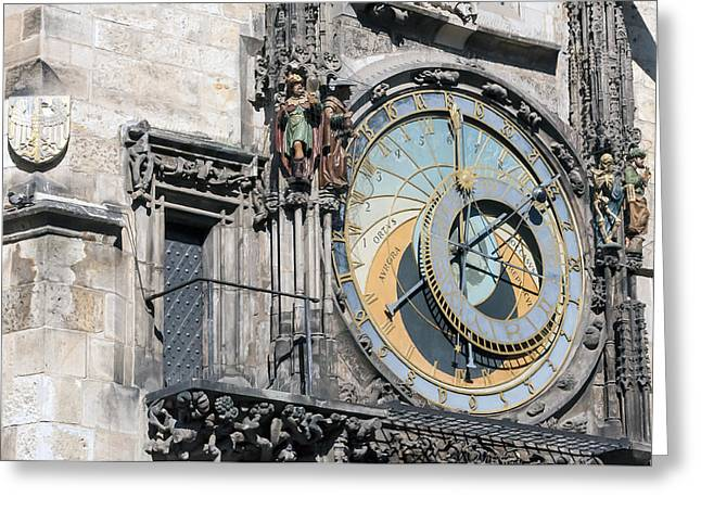 Astronomical Clock. Prague. Greeting Card by Fernando Barozza