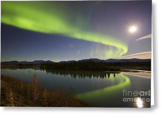 Aurora Borealis And Full Moon Greeting Card by Joseph Bradley