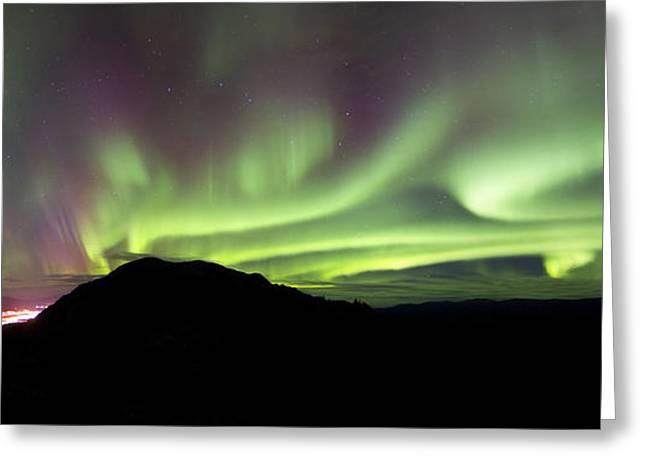 Aurora Borealis Over Gray Peak Greeting Card by Joseph Bradley