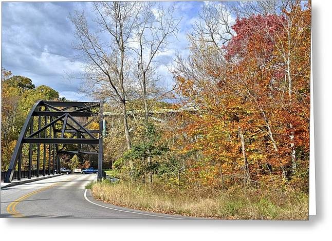 Willow Lake Greeting Cards - Autumn Bridge Greeting Card by Frozen in Time Fine Art Photography