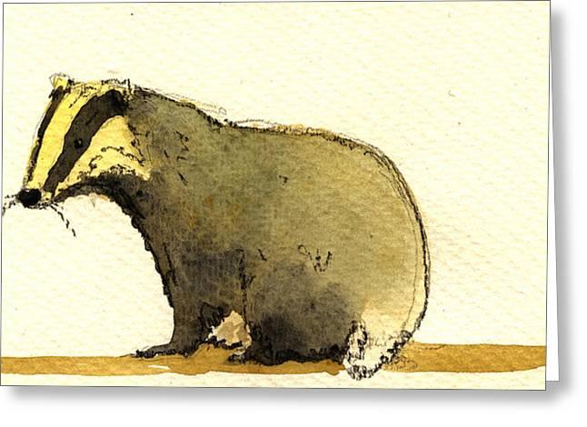 Badger Greeting Card by Juan  Bosco