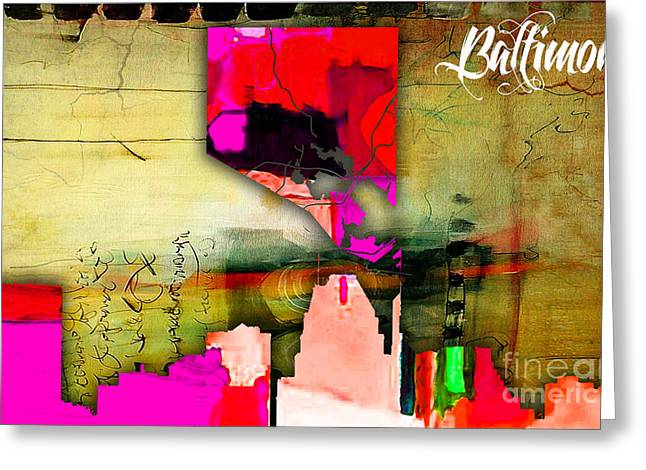 Baltimore Map And Skyline Watercolor Greeting Card by Marvin Blaine