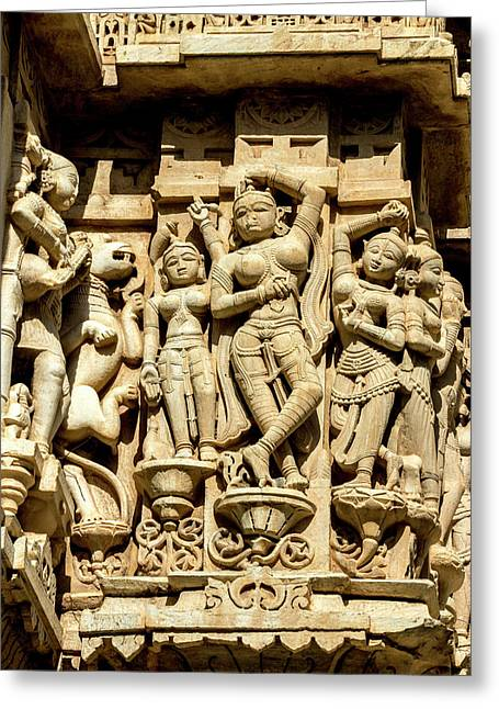 Bas Relief Jagdish Temple Udaipur Greeting Card by Tom Norring