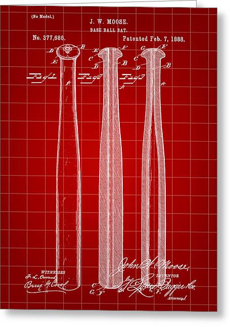Baseball Bat Patent 1888 - Red Greeting Card by Stephen Younts