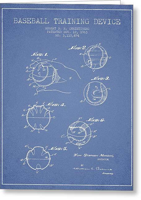 Baseball Training Device Patent Drawing From 1963 Greeting Card