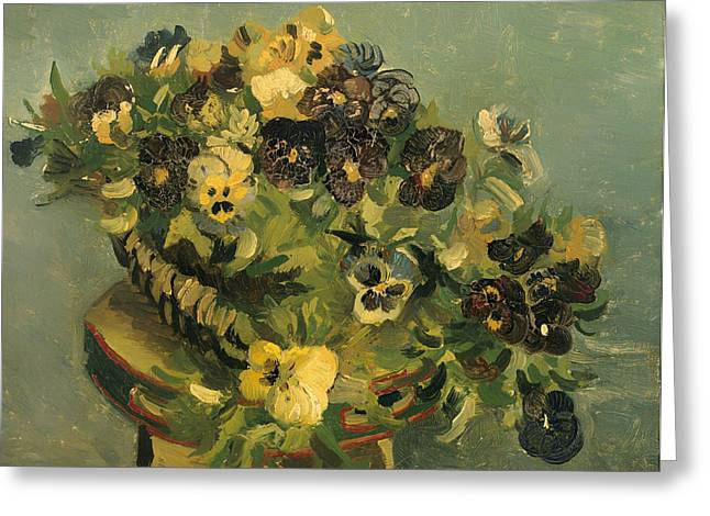 Basket Of Pansies On A Small Table Greeting Card by Mountain Dreams