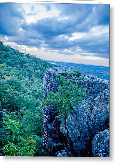 Beautiful Aerial Landscape Views From Crowders Mountain Near Gas Greeting Card