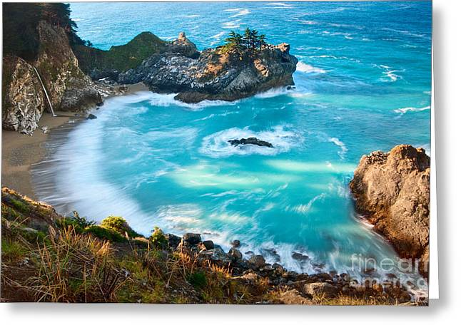 Beautiful Mcway Falls Along The Big Sur Coast. Greeting Card by Jamie Pham