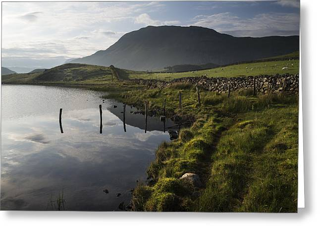Beautiful Sunrise Mountain Landscape Reflected In Calm Lake Greeting Card by Matthew Gibson