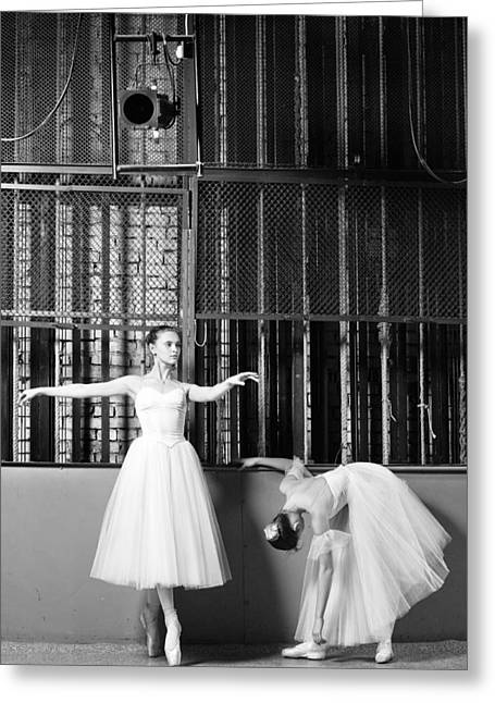 Beautiful Young Ballet Dancers In Rehearsal Greeting Card by Ilya Lokalin