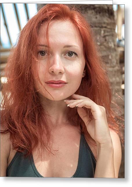 Beautiful Young Woman At The Beach Greeting Card by Nikita Buida