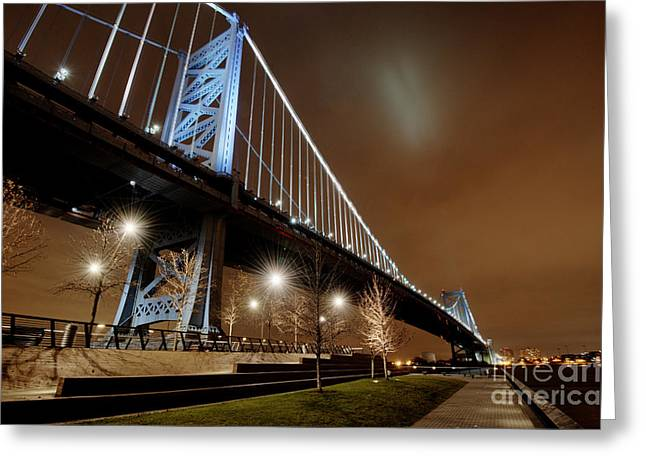 Ben Franklin Bridge At Night Greeting Card by Mark Ayzenberg