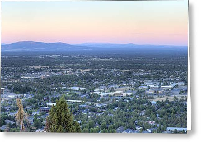 Bend From Pilot Butte In Evening Greeting Card by Twenty Two North Photography