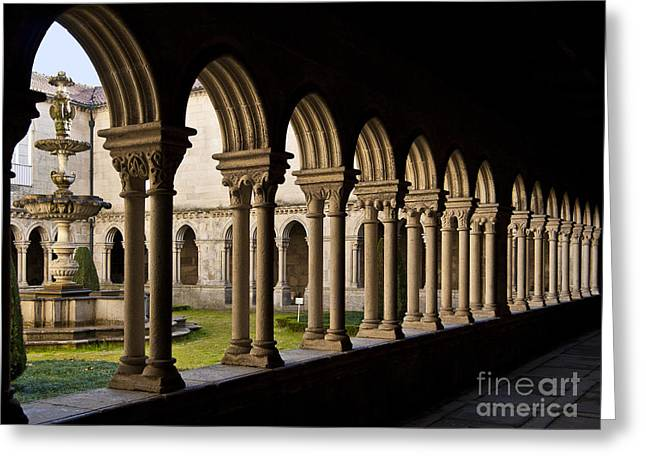 Benedictine Gothic Cloister Greeting Card by Jose Elias - Sofia Pereira