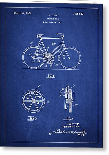 Bicycle Gear Patent Drawing From 1922 - Blue Greeting Card by Aged Pixel