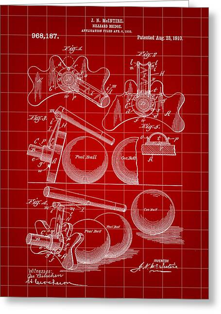 Billiard Bridge Patent 1910 - Red Greeting Card by Stephen Younts