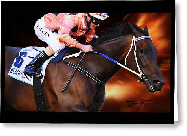 Black Caviar Greeting Card by Michael Montgomerie
