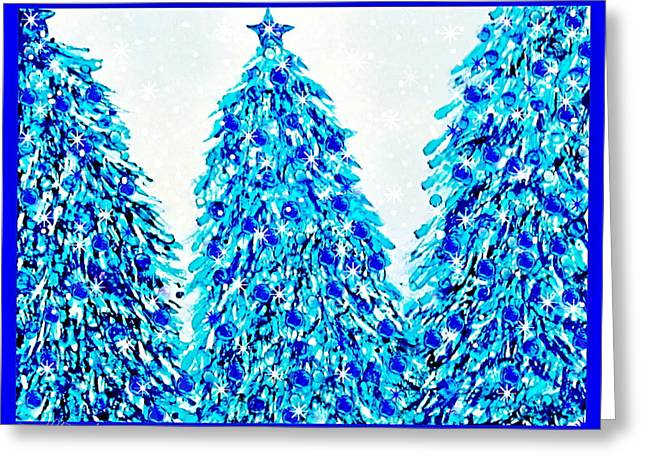 3 Blue Christmas Trees Alcohol Inks  Greeting Card by Danielle  Parent