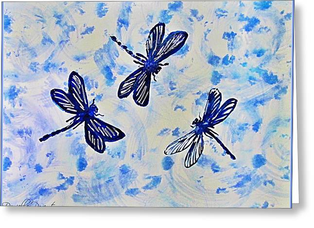 3 Blue Dragonflies Alcohol Ink Greeting Card