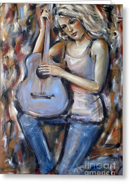 Blue Guitar 010709 Greeting Card by Selena Boron