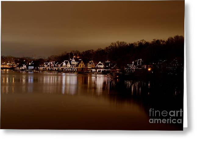 Boathouse Row Greeting Card by Mark Ayzenberg