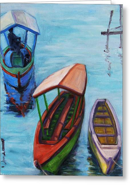 3 Boats IIi Greeting Card by Xueling Zou